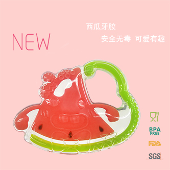 Water melon shape silicone teether